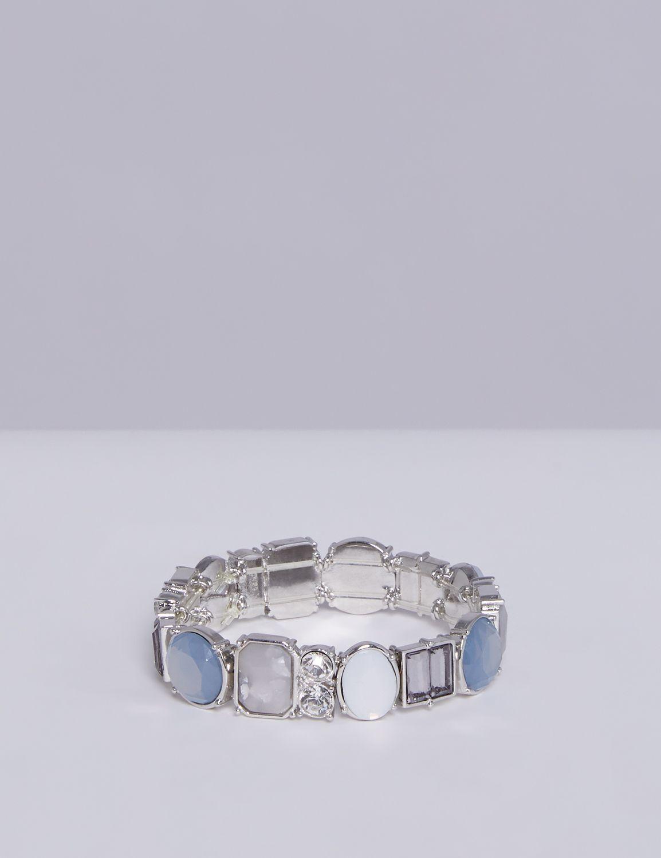Lane Bryant Womens Multi-Stone Stretch Bracelet ONESZ Silver Tone