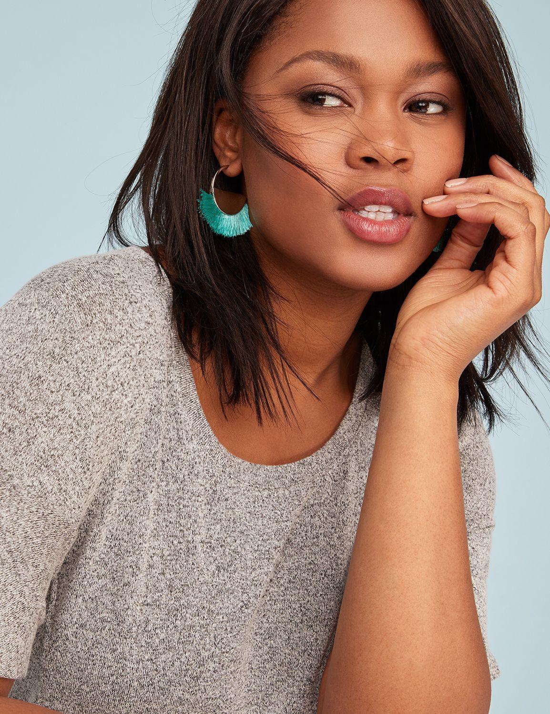 Lane Bryant Womens Mini Fringe Hoop Earrings ONESZ Silver Tone