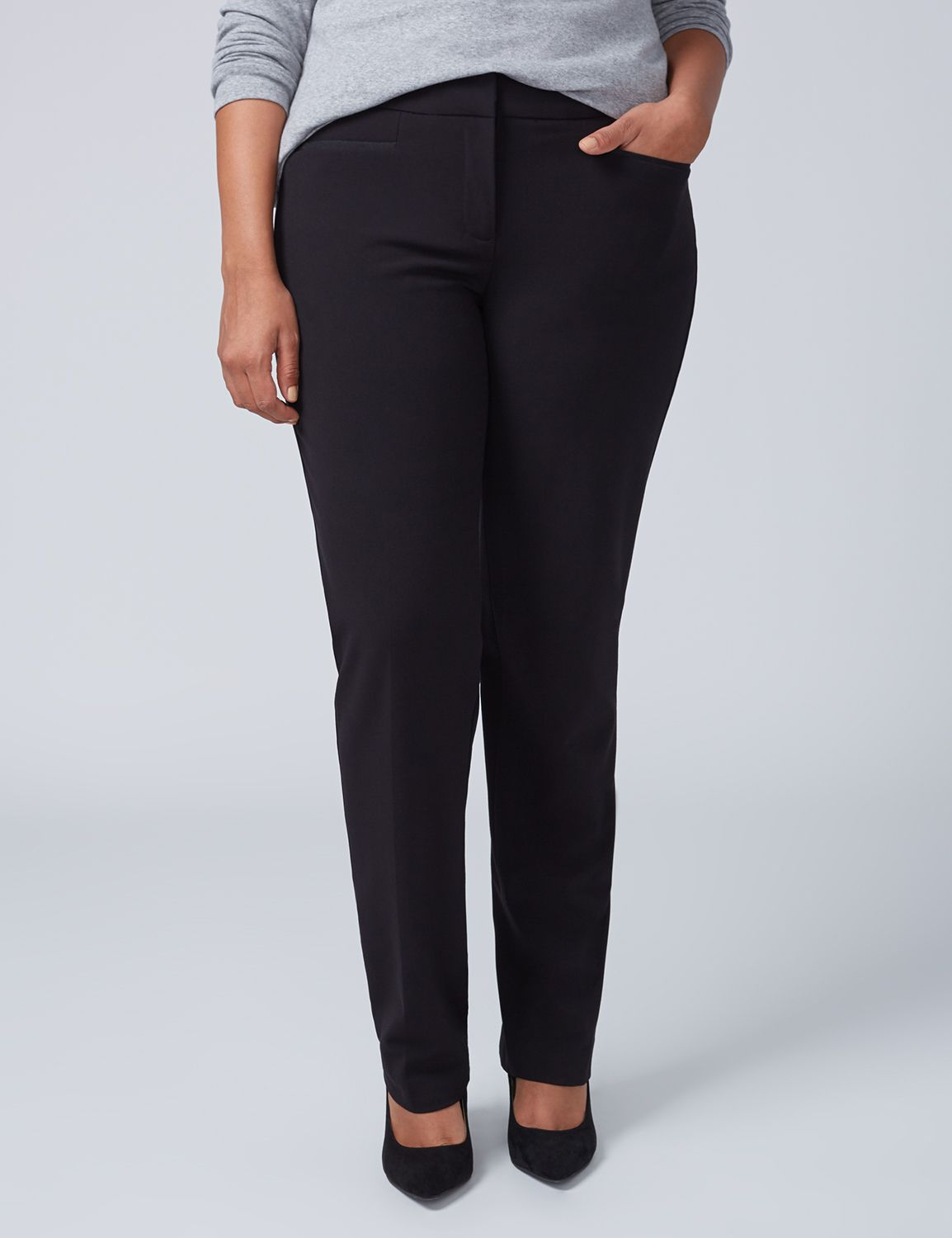 Lane Bryant Womens Sophie Tailored Stretch Straight Leg Pant With T3 Technology 20 Black