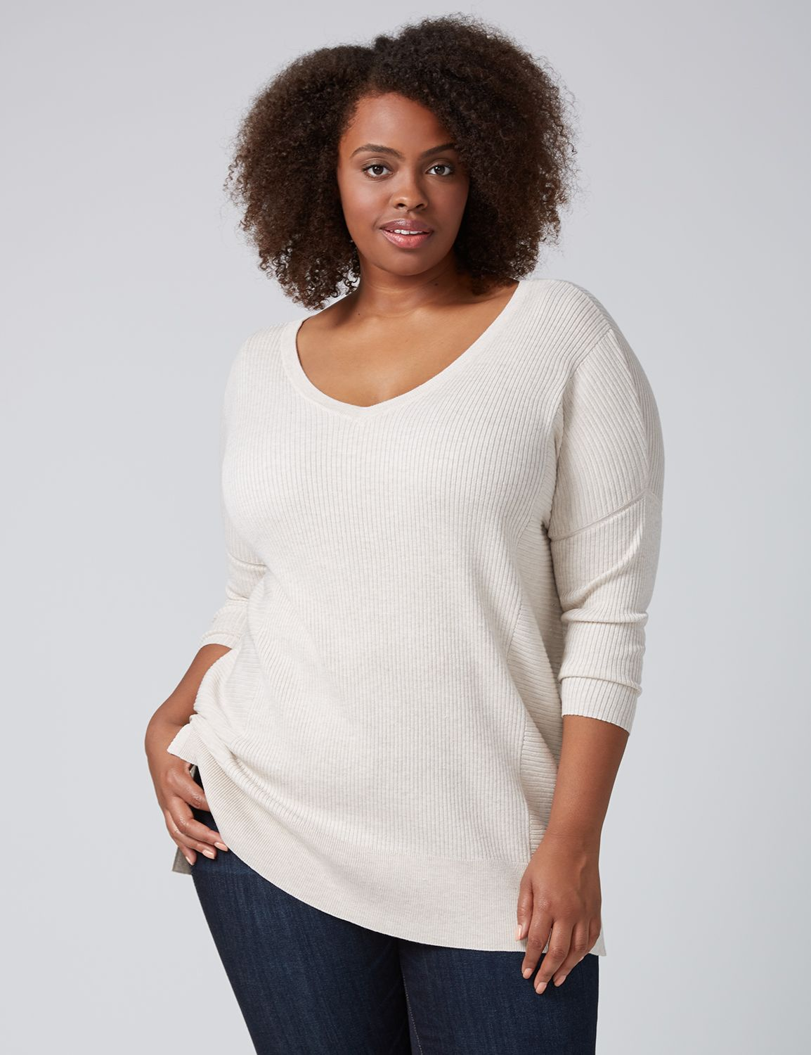 Lane Bryant Womens Double V Tunic Sweater 18/20 Oatmeal Heather