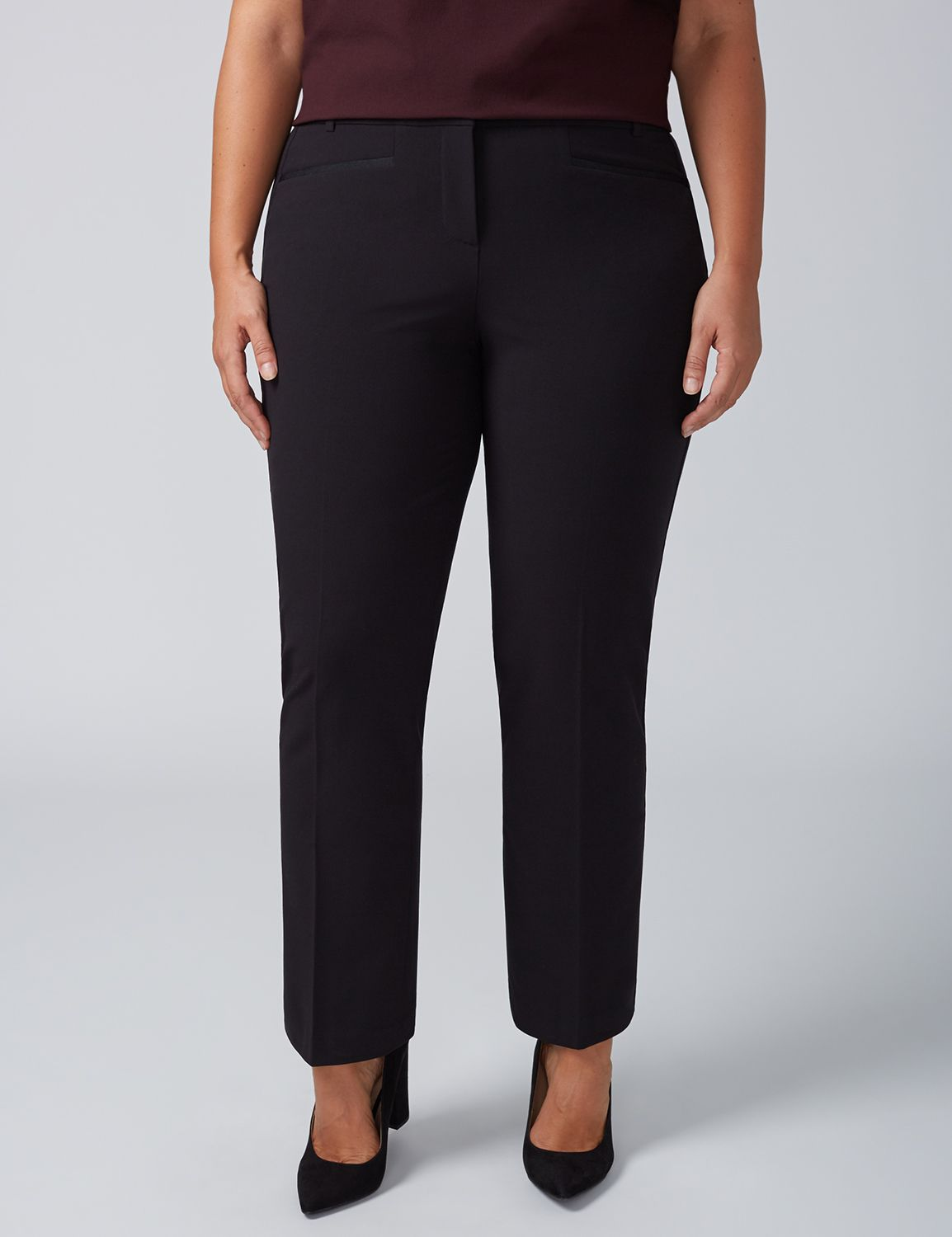 Lane Bryant Womens Lena Tailored Stretch Straight Leg Pant With T3 Technology 24P Black