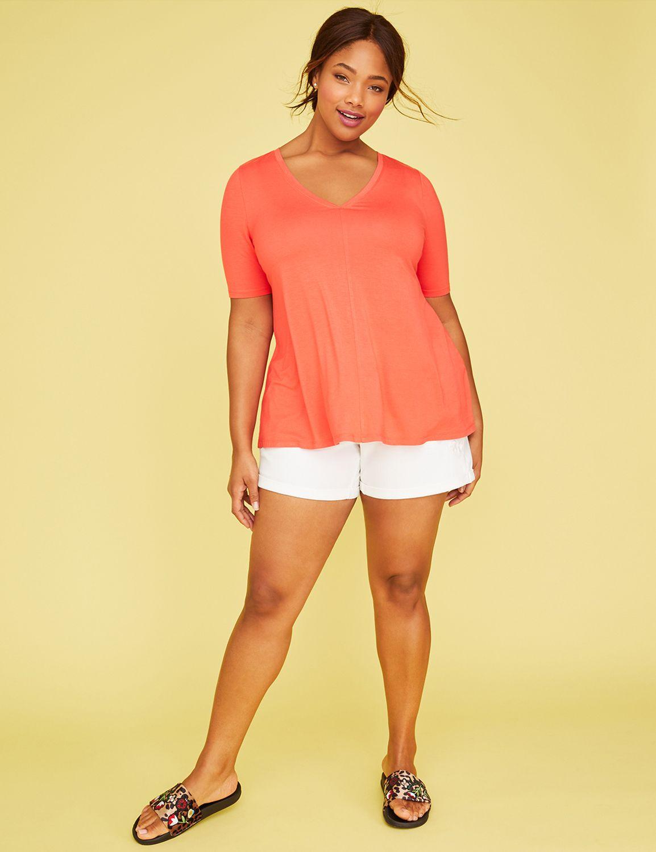 lane bryant-Lane Bryant Women's Short-Sleeve Swing Tee 22/24 Hibiscus