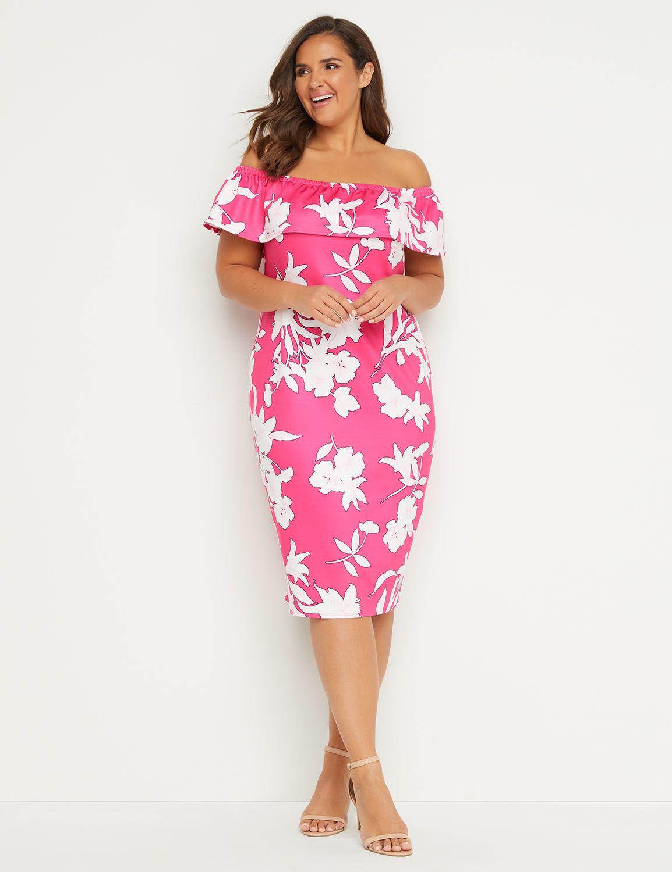 5842ef55ed28 Off-the-Shoulder Sheath Dress   Lane Bryant