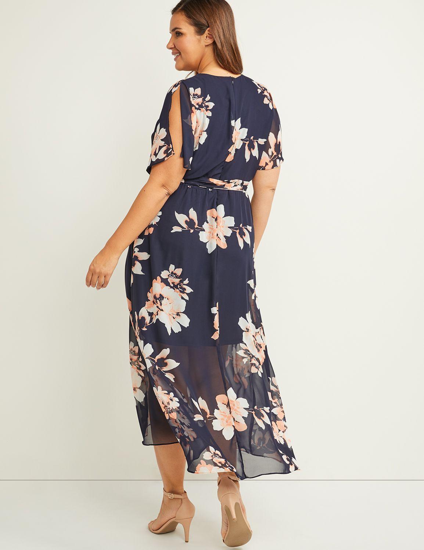 8be135e63e Faux-Wrap Fit & Flare High-Low Maxi Dress   Lane Bryant