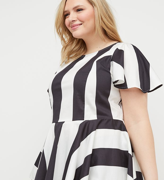 Striped Extreme Asymmetrical Peplum Top