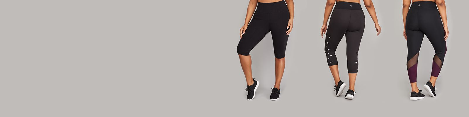 Plus size active leggings and bottoms with laser cut and zipper details