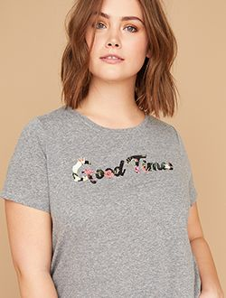 Plus size sequin tee shop tees and tanks