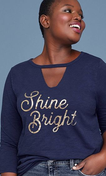 Shine Bright V Neck Tee