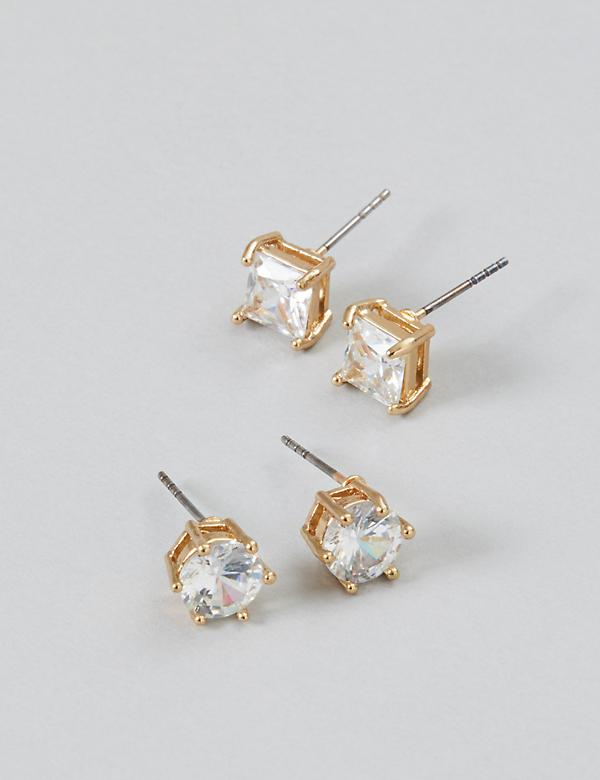 CZ Stud Earrings Duo