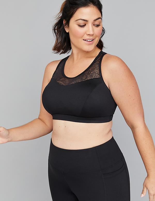Low-Impact Wicking Black Sport Bra - Lace Racerback