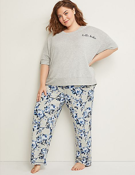 Roses Sleep Pant with Satin Tie