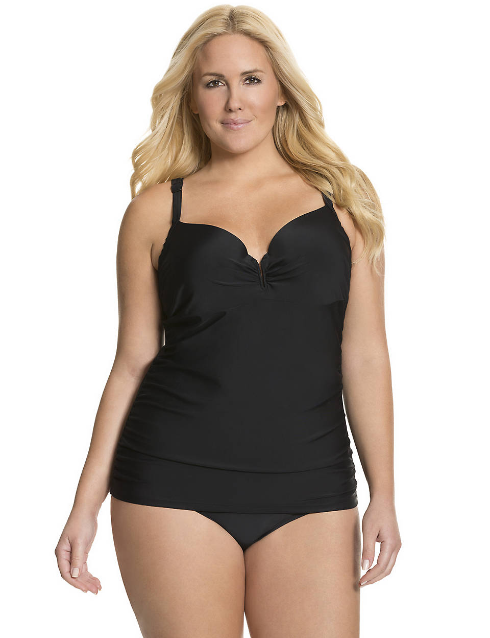 4a1491c9d50b6 V-wire swim tank with built-in balconette bra by Cacique | Lane Bryant
