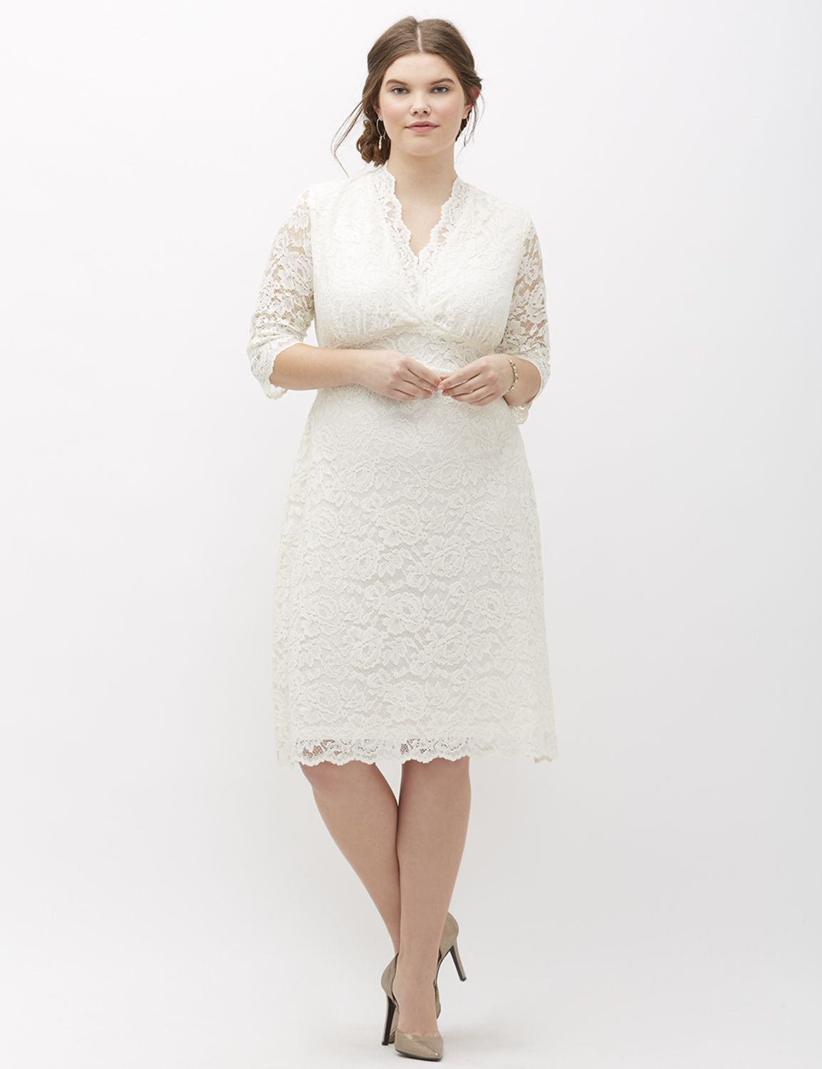 1940s Style Wedding Dresses and Accessories Lane Bryant Womens Luxe Lace Wedding Dress By Kiyonna 1X White $219.99 AT vintagedancer.com