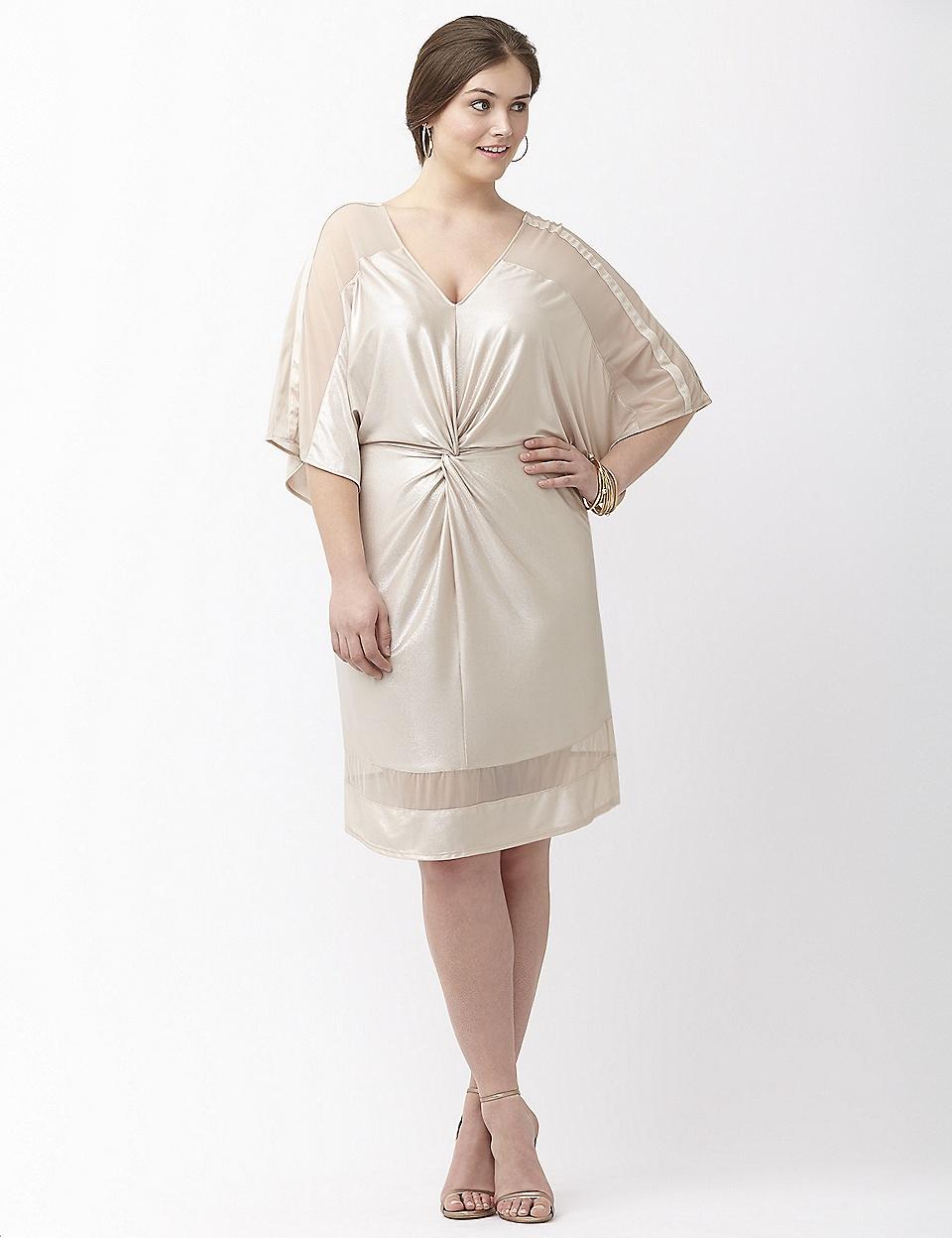 Twist front foiled kimono dress ABS by Allen Schwartz | Lane Bryant