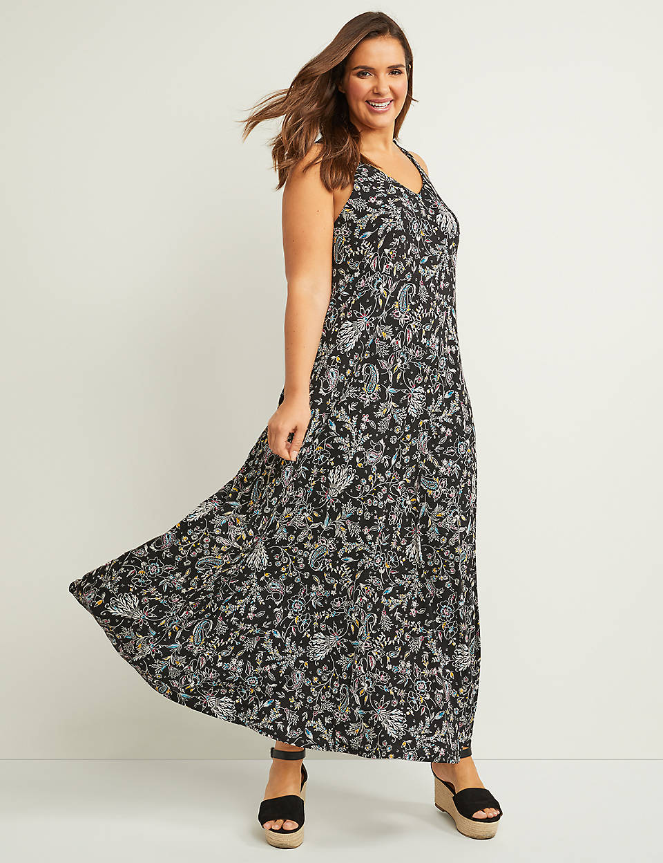 3eb63d223e6 Floral Crochet Racerback Maxi Dress