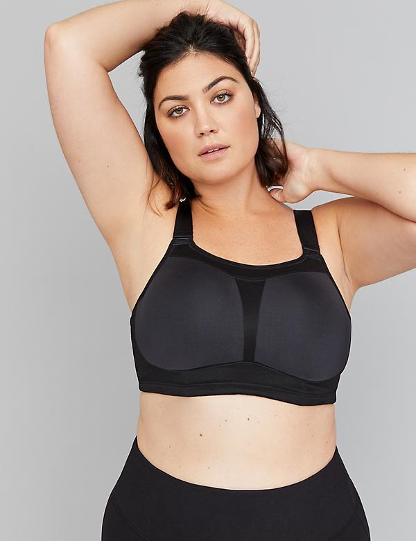 Medium-Impact Wicking Black Sport Bra - Flexible Wire