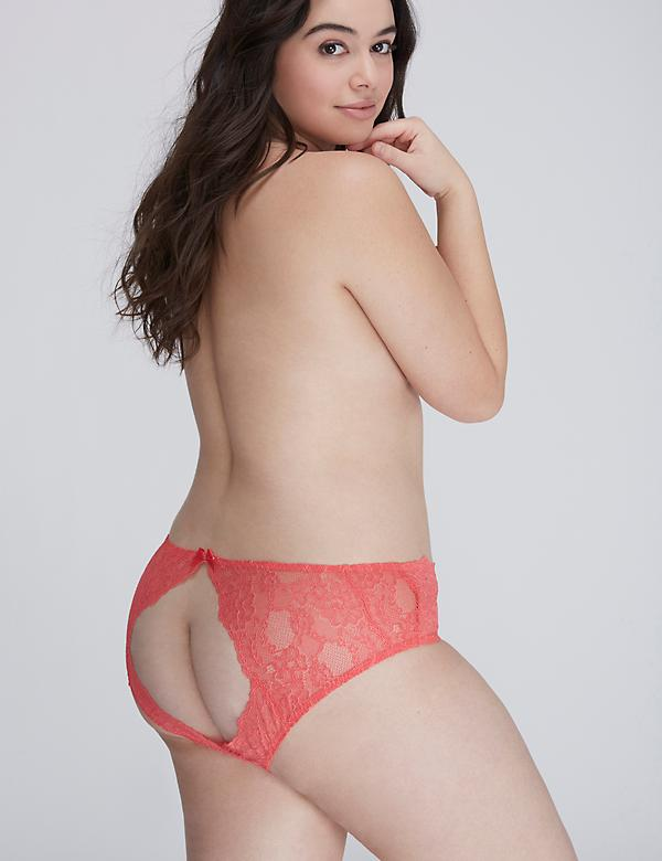 Open-Back Lace Hipster Panty with Split Gusset