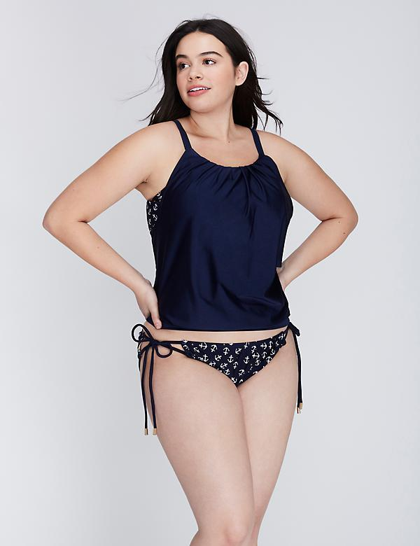 Blouson Shimmer Swim Tank with Built-In No-Wire Bra