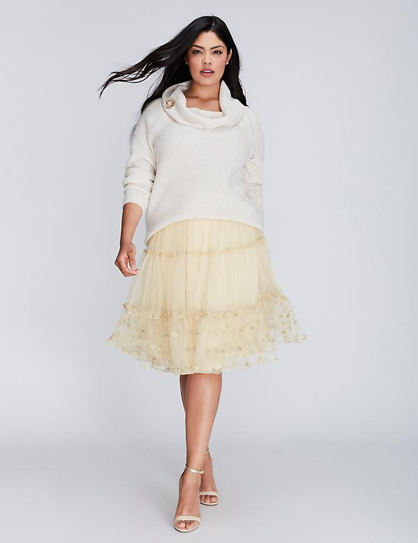 Embroidered Tiered Tulle Skirt