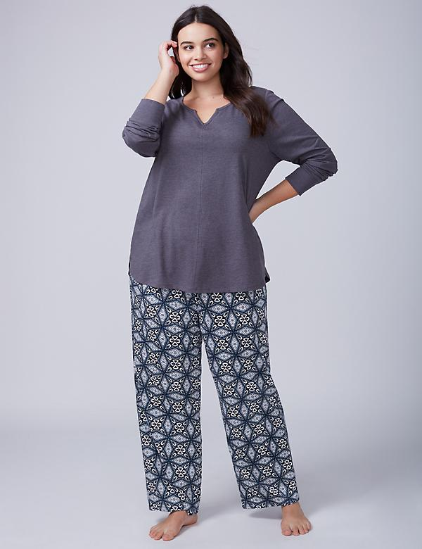 Winter Geo Notch-Neck Tee & Pant PJ Set