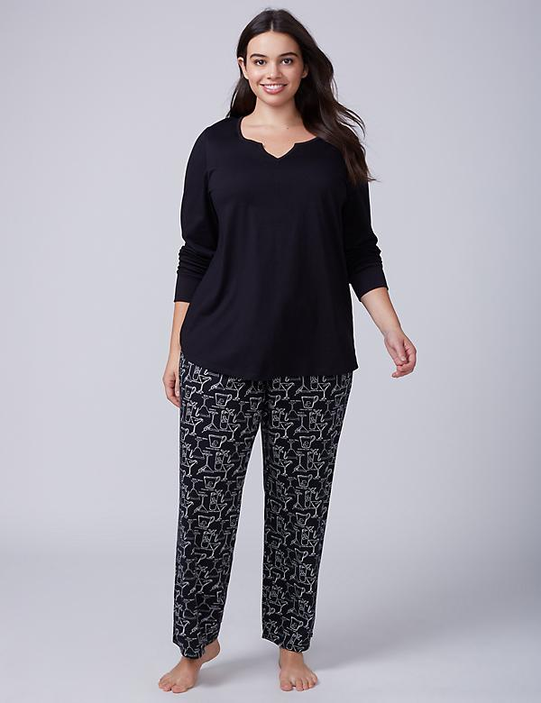 Festive Drinks Notch-Neck Tee & Pant PJ Set
