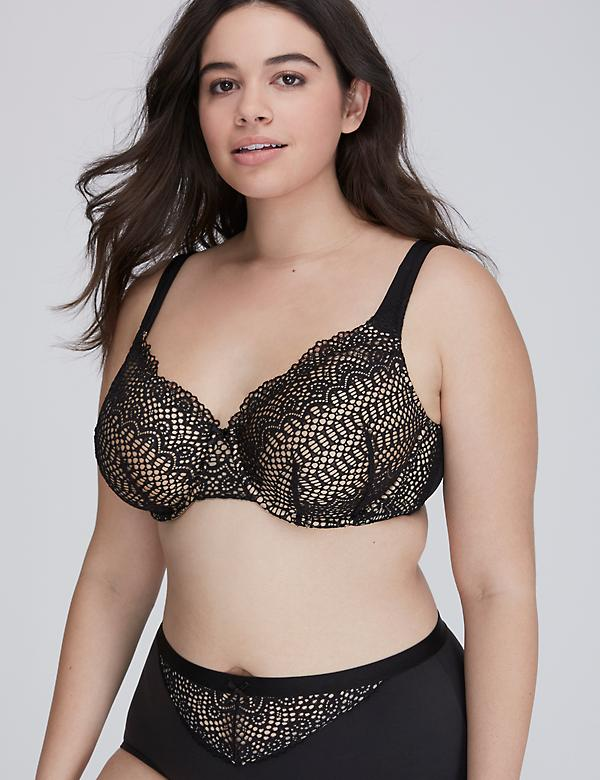 Linear Lace Unlined Full Coverage Bra