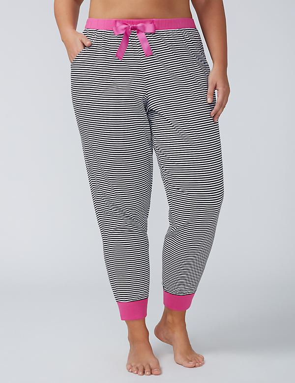 Cotton Sleep Jogger with Grosgrain Ribbon