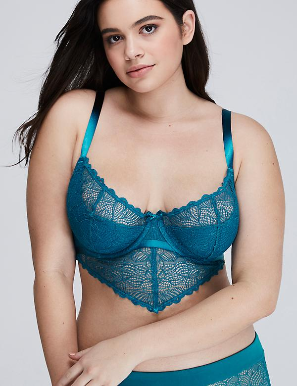 Lighly Lined Open Lace Longline French Balconette Bra