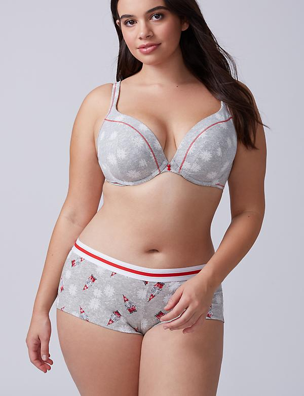Cotton Boyshort Panty with Striped Waistband