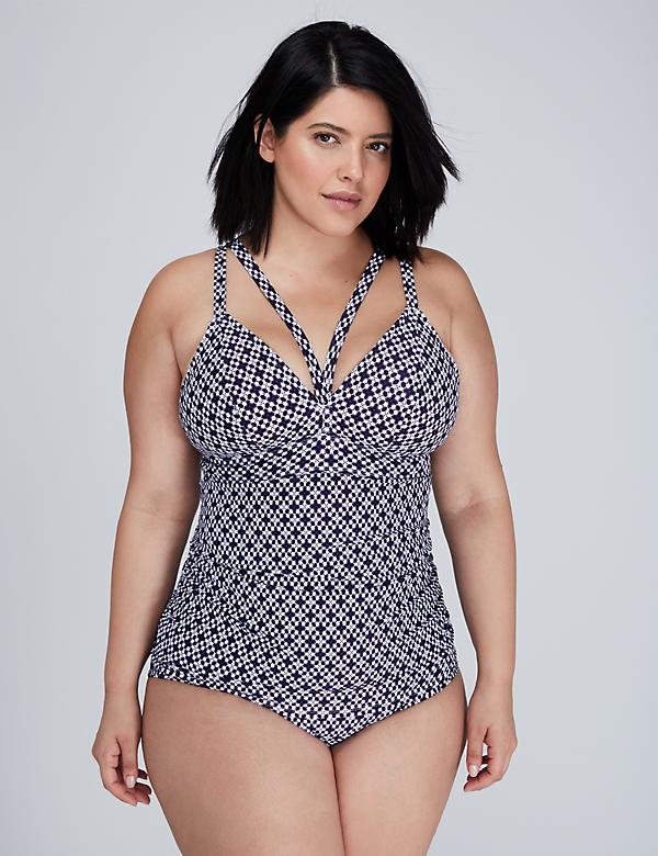 Triangle Cup Swim Tankini Top with Built-In No-Wire Bra