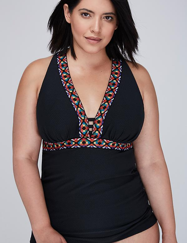 Textured Swim Tankini Top with Built-in Balconette Bra