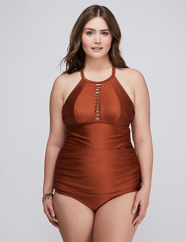 Shimmer Strappy High-Neck Swim Tankini Top with Built-In No-Wire Bra