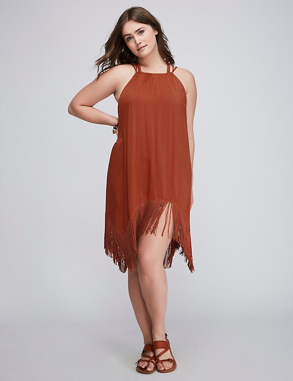 High-Neck Cover-Up with Fringe