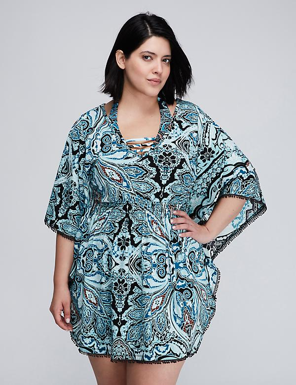 Smocked Waist Caftan Cover-Up with Open Back