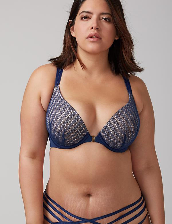 Front-Close Boost Plunge Bra with Strappy Back