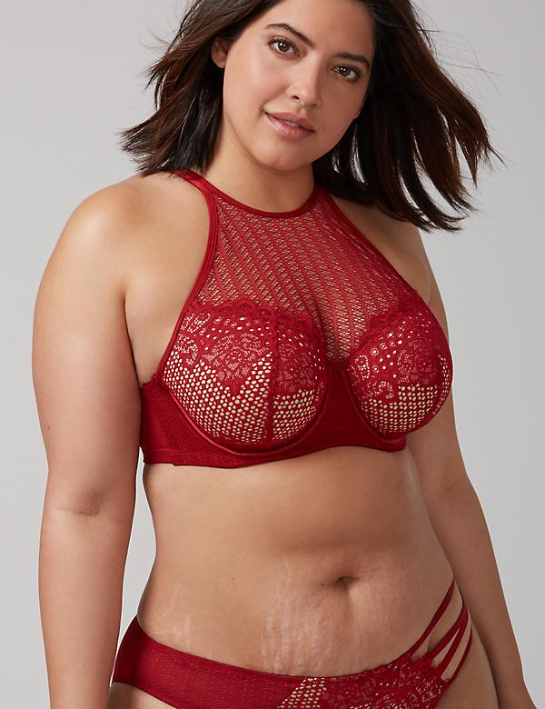 Mesh High-Neck Lightly Lined Balconette Bra