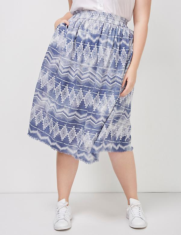 6th and Lane Embroidered Tie-Dye Midi Skirt