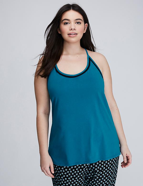 Cotton Sleep Tank with Open Lace Back