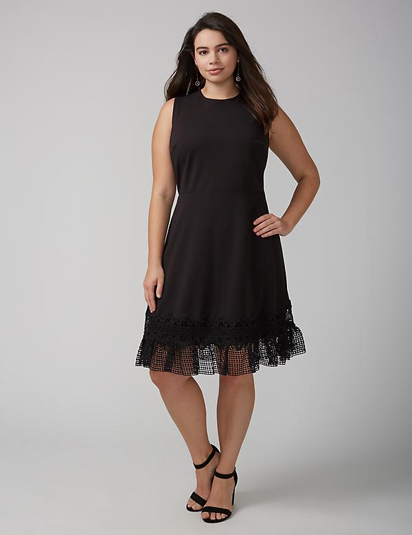Fit & Flare Dress with Crochet Hem