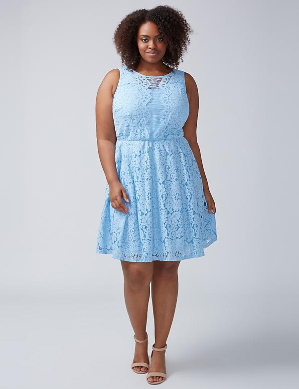 Chambray Lace Fit & Flare Dress by Gabby Skye
