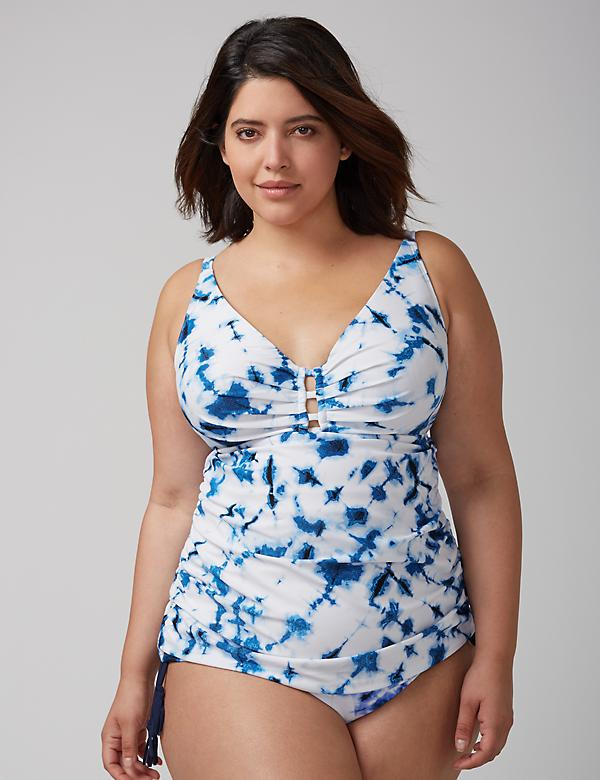 Ladder-Front Swim Tankini Top with Built-In Balconette Bra