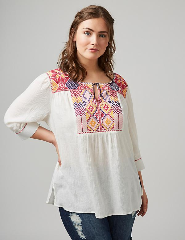 Embroidered Notch-Neck Peasant Top