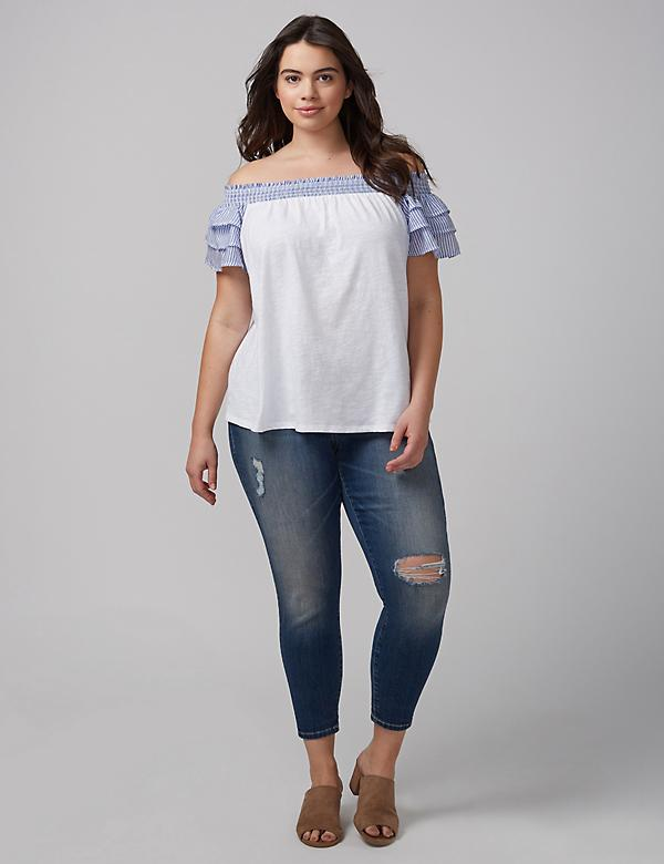 Mixed Fabric Off-the-Shoulder Ruffle Top