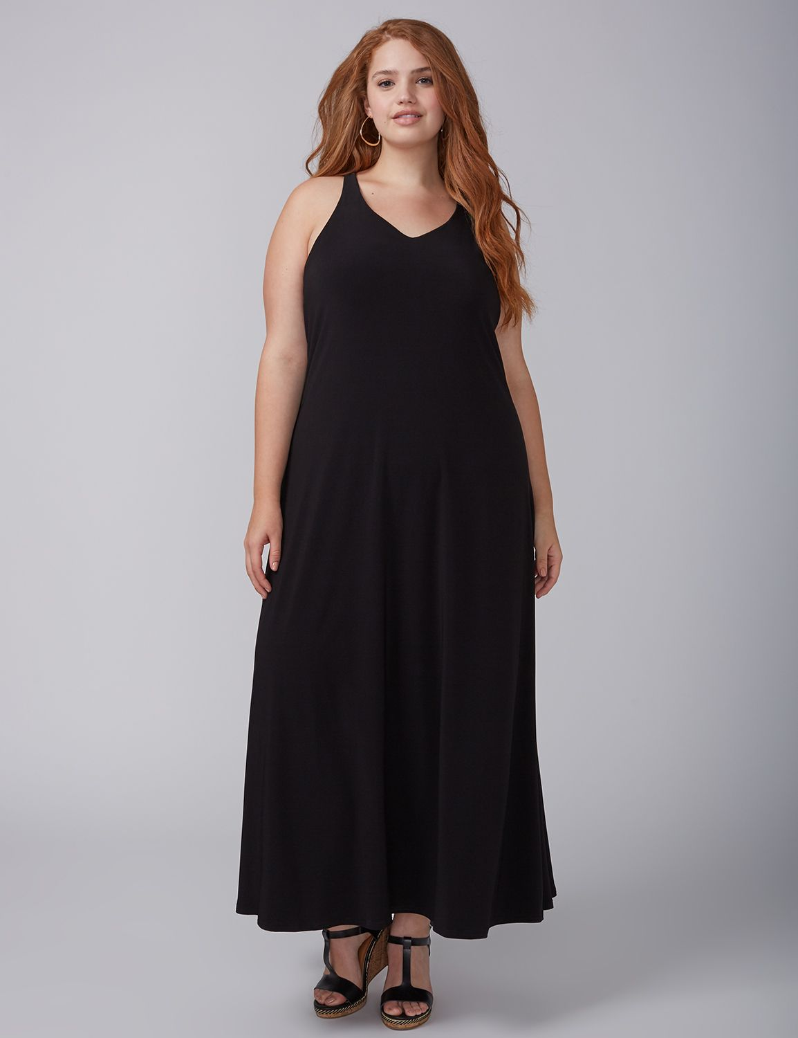 Black dress with lace sleeves plus size