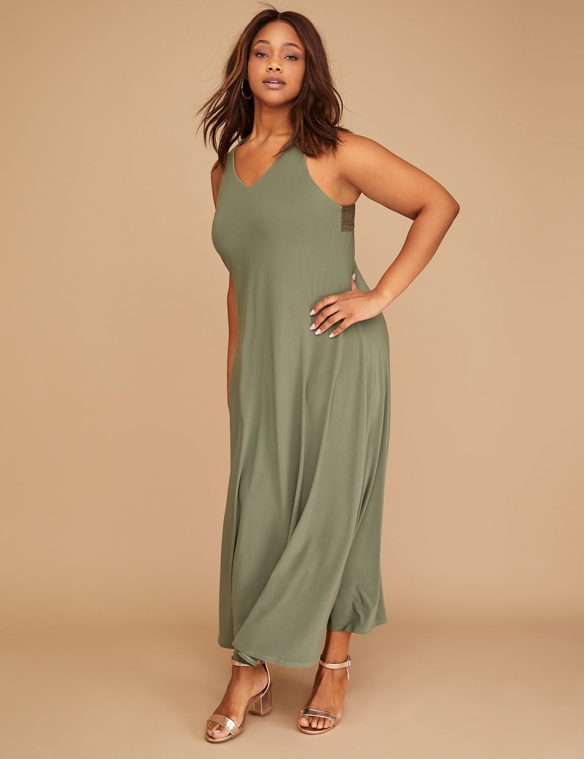 Matte Jersey Crochet-Back Maxi Dress