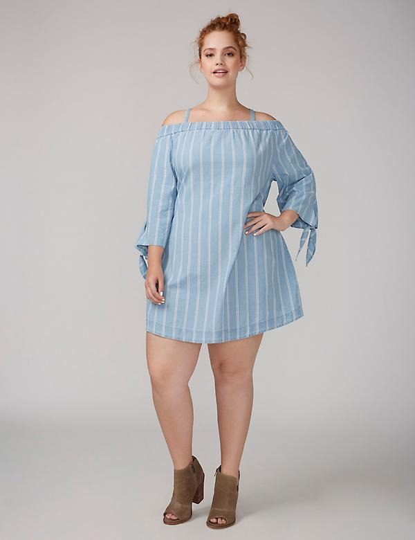 Fast Lane Off-the-Shoulder Chambray Swing Dress