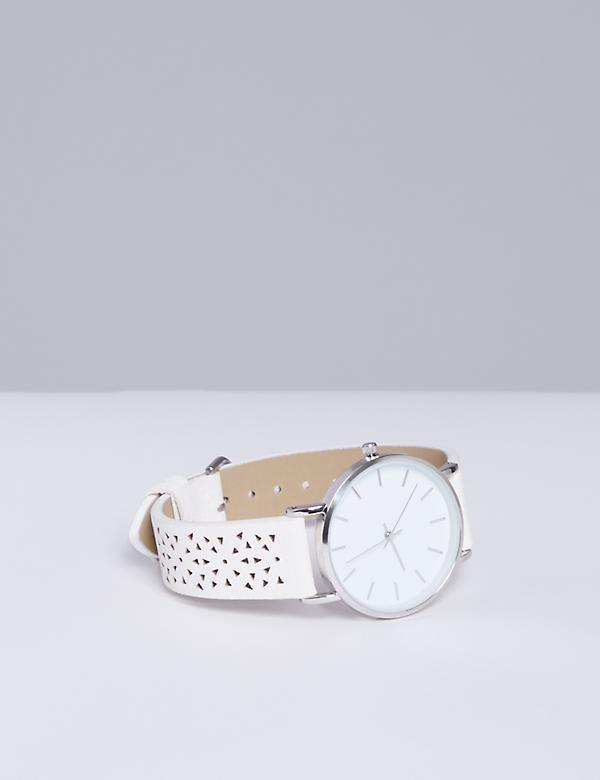 Cutout Faux Leather Watch
