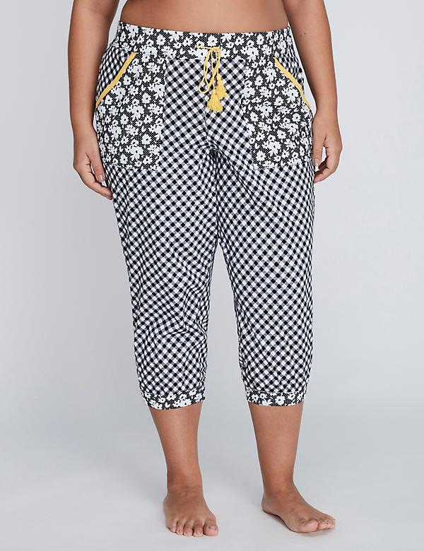 Printed Patch-Pocket Cropped Sleep Jogger