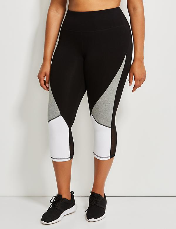 Signature Stretch Colorblock Active Capri Legging with Mesh