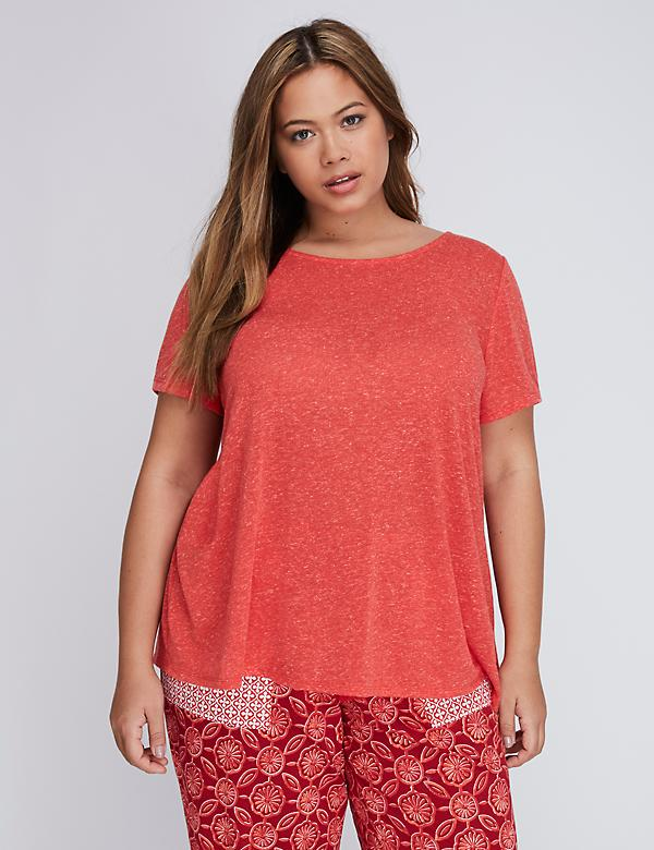 Low-Back Sleep Tee with Lace Trim